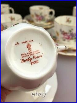 6 x Royal Crown Derby Posies Tea Trios Cups Saucers and Side Plates Red Stamps