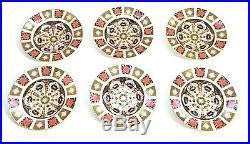 Fine Set Of 6 Royal Crown Derby Imari 1128 Soup Plates