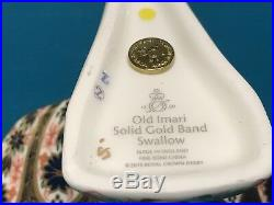 New Royal Crown Derby 1st Quality Imari Solid Gold Band Swallow Paperweight