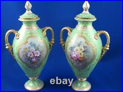 Pair Of Stunning Antique Royal Crown Derby Vases Decorated & Gilded Vases-8