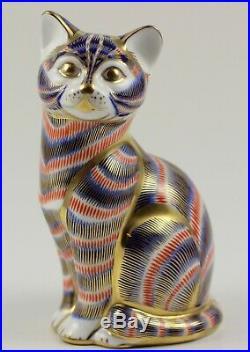 ROYAL CROWN DERBY Porzellanfigur BRIEFBESCHWERER Katze Kobaltblau Gold