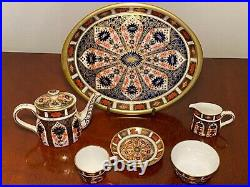Rare Collectible ROYAL CROWN DERBY #1128 Imari Full 7-Piece Miniature Tea Set