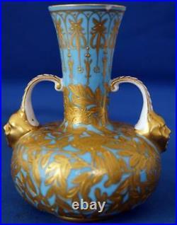Royal Crown Derby Antique Mask Handle Gilded Vase Turquoise