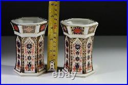 Royal Crown Derby Imari 1128 Pair (2) Hexagonal Vases 4.5 / 11.5 cm