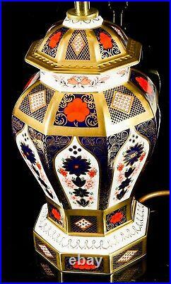 Royal Crown Derby Large Old Imari 1128 Solid Gold Band Baluster Lamp Base Vase
