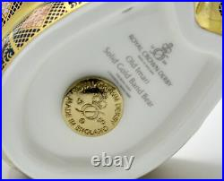 Royal Crown Derby Old Imari Solid Gold Band Bear Paperweight New'1st
