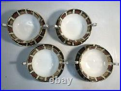 Set Of 4 Royal Crown Derby Old Imari Cream Soup Cups Saucers 1st Quality MINT