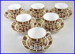 Stunning Royal Crown Derby China Old Imari 1128 Tea Cups & Saucers X 6 1st